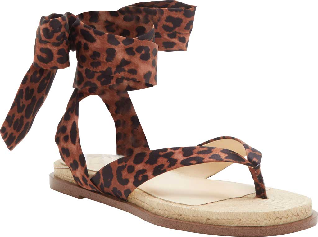 Women's Jessica Simpson Abramo Ankle Tie Flat Sandal, Natural Safari Leopard Fabric, large, image 1