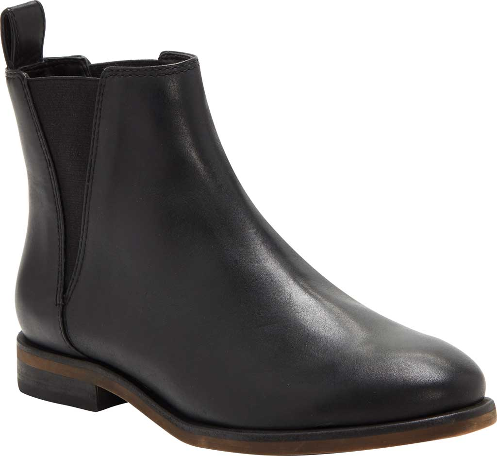 Women's Lucky Brand Haylia Chelsea Boot, Black Silky Leather, large, image 1
