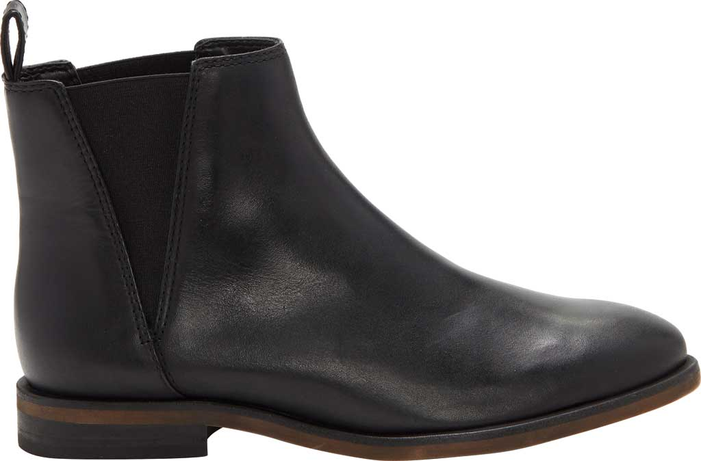 Women's Lucky Brand Haylia Chelsea Boot, Black Silky Leather, large, image 2