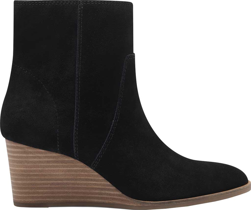Women's Lucky Brand Wafael Wedge Bootie, Black Oiled Suede, large, image 2