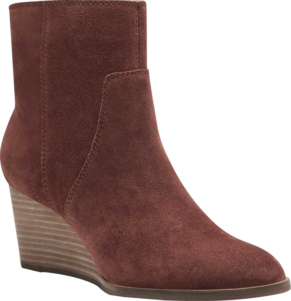 Women's Lucky Brand Wafael Wedge Bootie, Brandy Oiled Suede, large, image 1