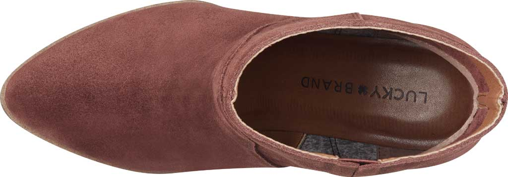 Women's Lucky Brand Wafael Wedge Bootie, Brandy Oiled Suede, large, image 4