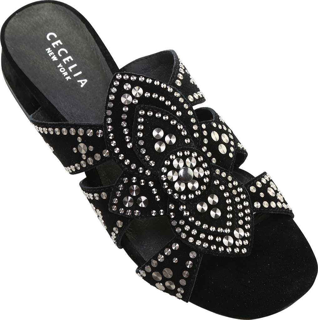 Women's Cecelia New York Martini Micro Stud Sandal, Black Suede, large, image 4