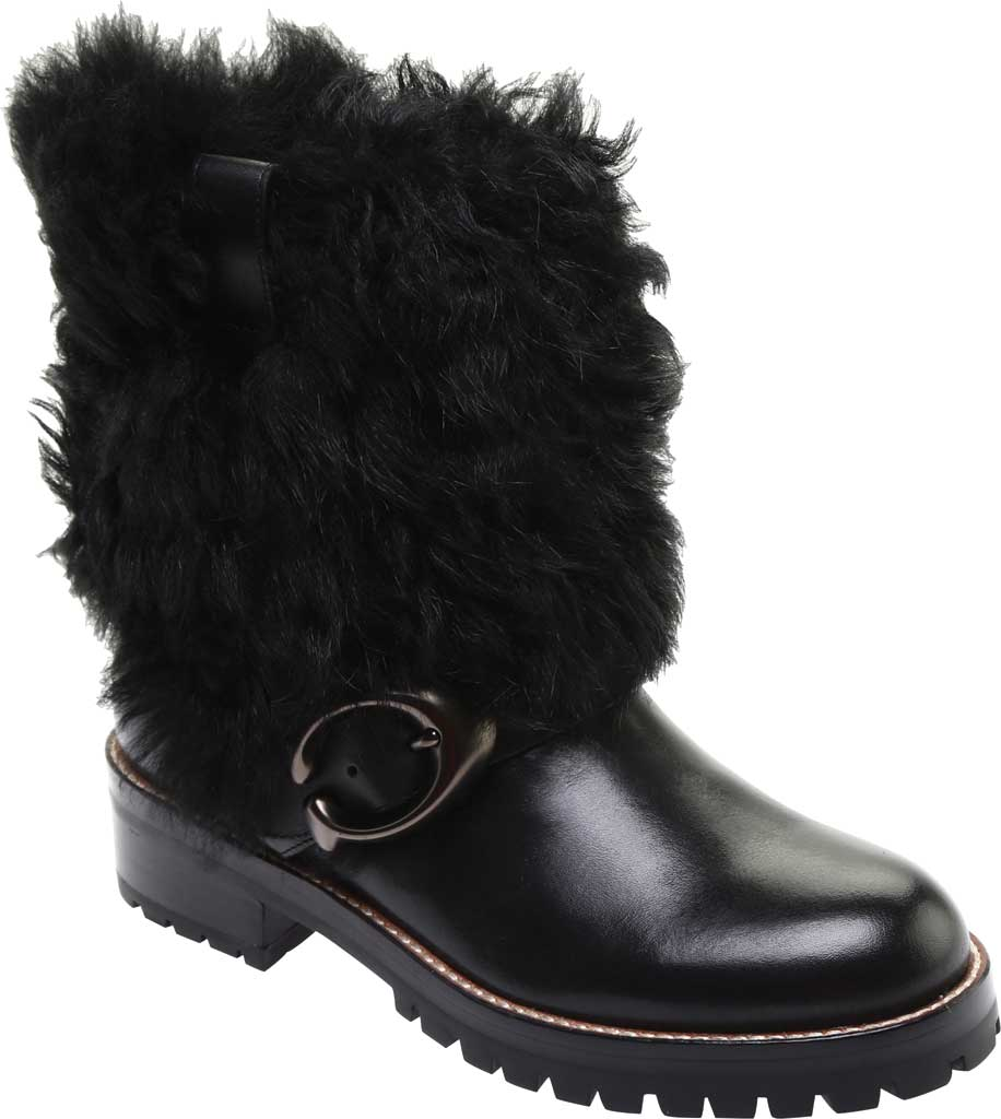 Women's Coach Leighton Shearling Bootie, Black/Black Leather, large, image 1