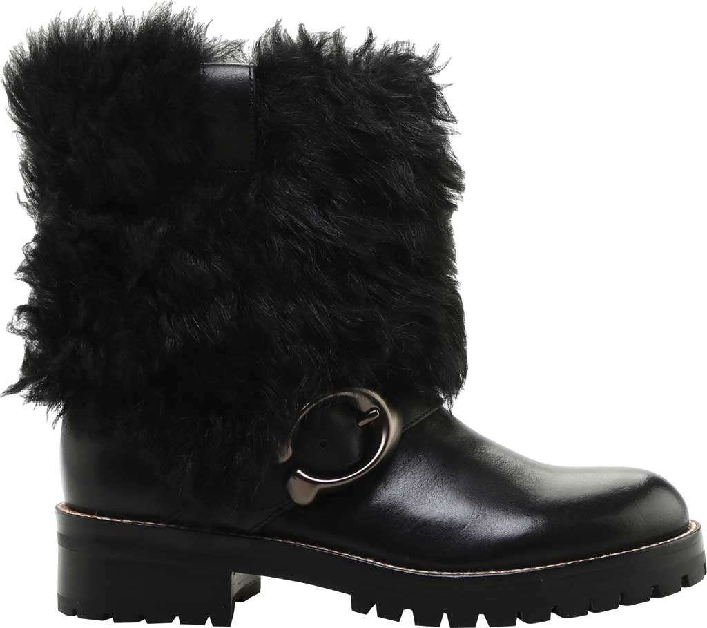 Women's Coach Leighton Shearling Bootie, Black/Black Leather, large, image 2