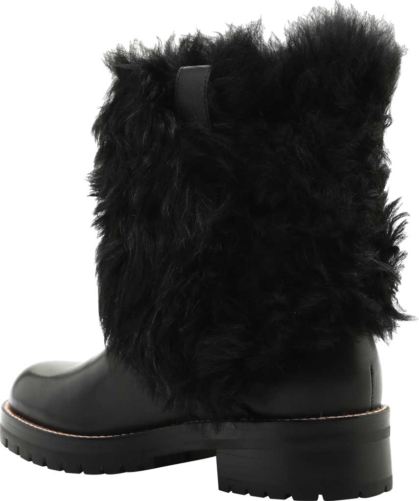 Women's Coach Leighton Shearling Bootie, Black/Black Leather, large, image 4