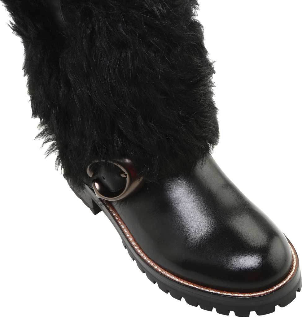 Women's Coach Leighton Shearling Bootie, Black/Black Leather, large, image 5