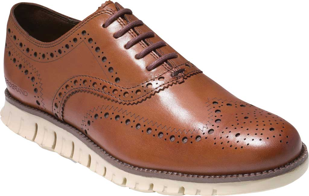 Men's Cole Haan ZEROGRAND Wingtip Oxford, British Tan Leather, large, image 1