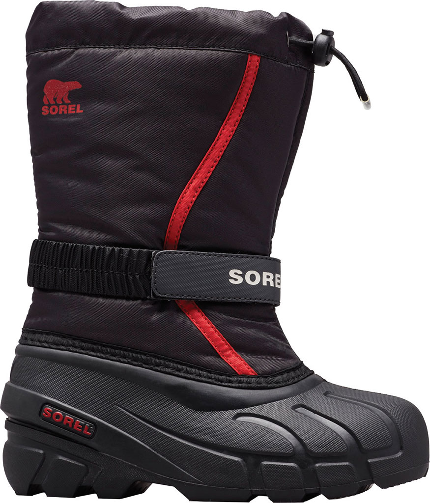 Children's Sorel Youth Flurry Boot, Black/Bright Red Synthetic/Textile, large, image 1