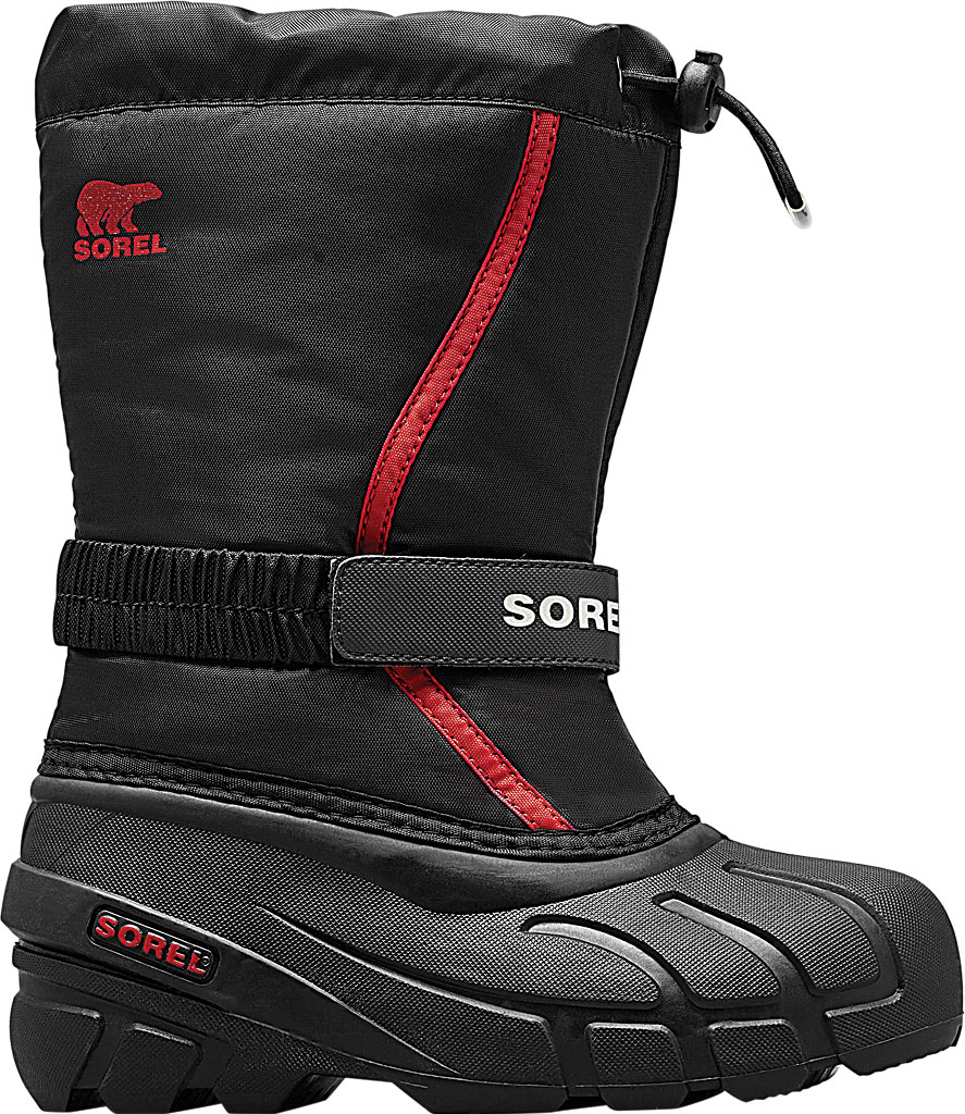 Children's Sorel Youth Flurry Boot, Black/Bright Red Synthetic/Textile, large, image 2