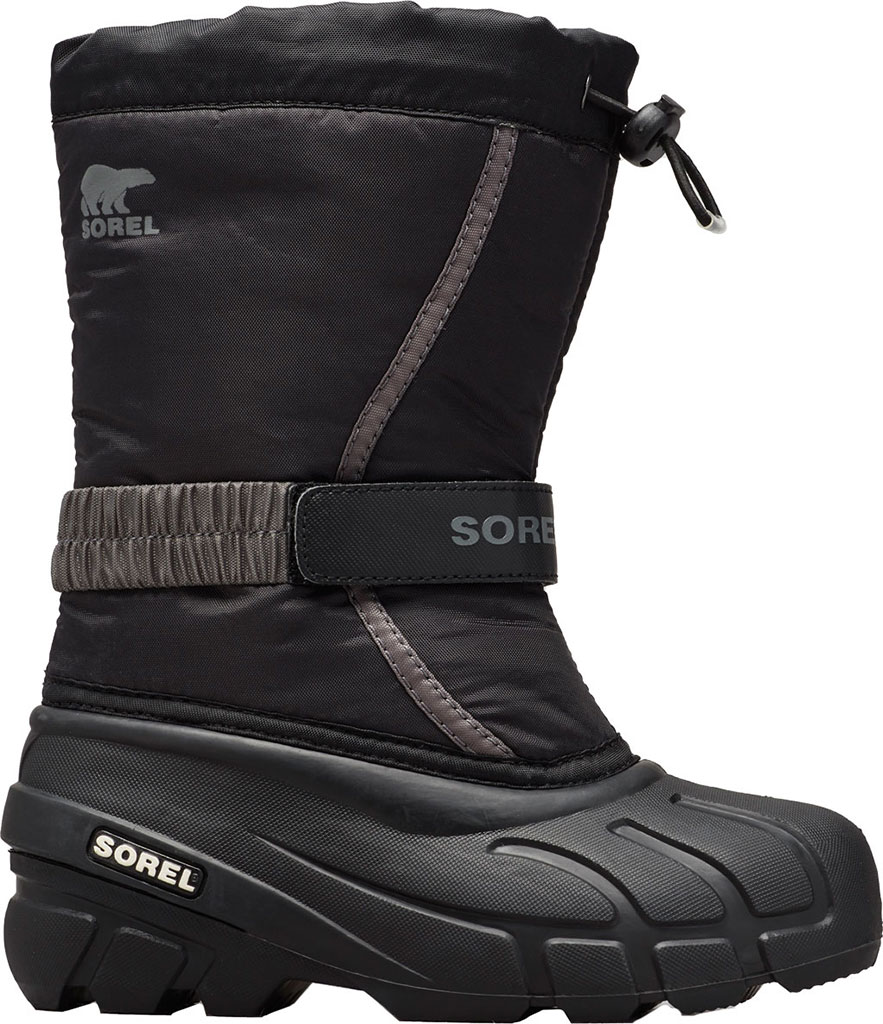 Children's Sorel Youth Flurry Boot, Black/City Grey Synthetic/Textile, large, image 1