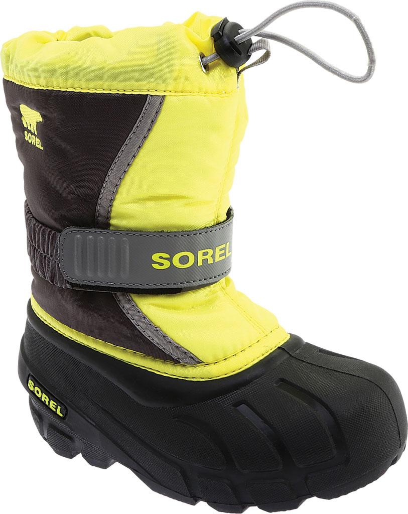 Children's Sorel Kids' Flurry Boot, Dark Grey/Warning Yellow PU/Textile, large, image 1