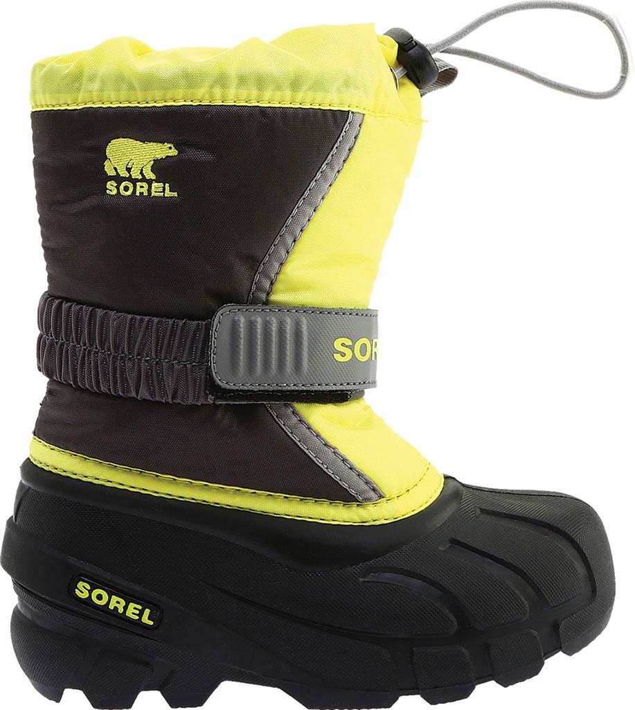 Children's Sorel Kids' Flurry Boot, Dark Grey/Warning Yellow PU/Textile, large, image 2