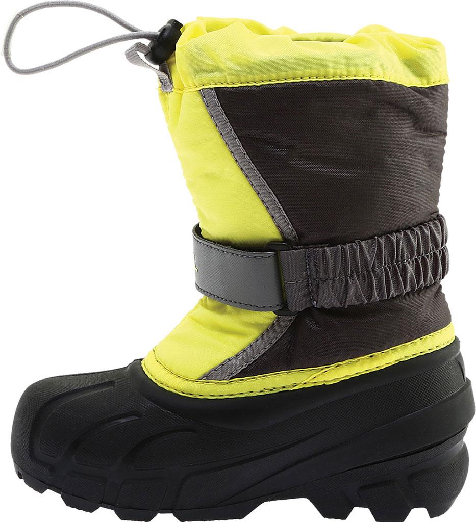 Children's Sorel Kids' Flurry Boot, Dark Grey/Warning Yellow PU/Textile, large, image 3
