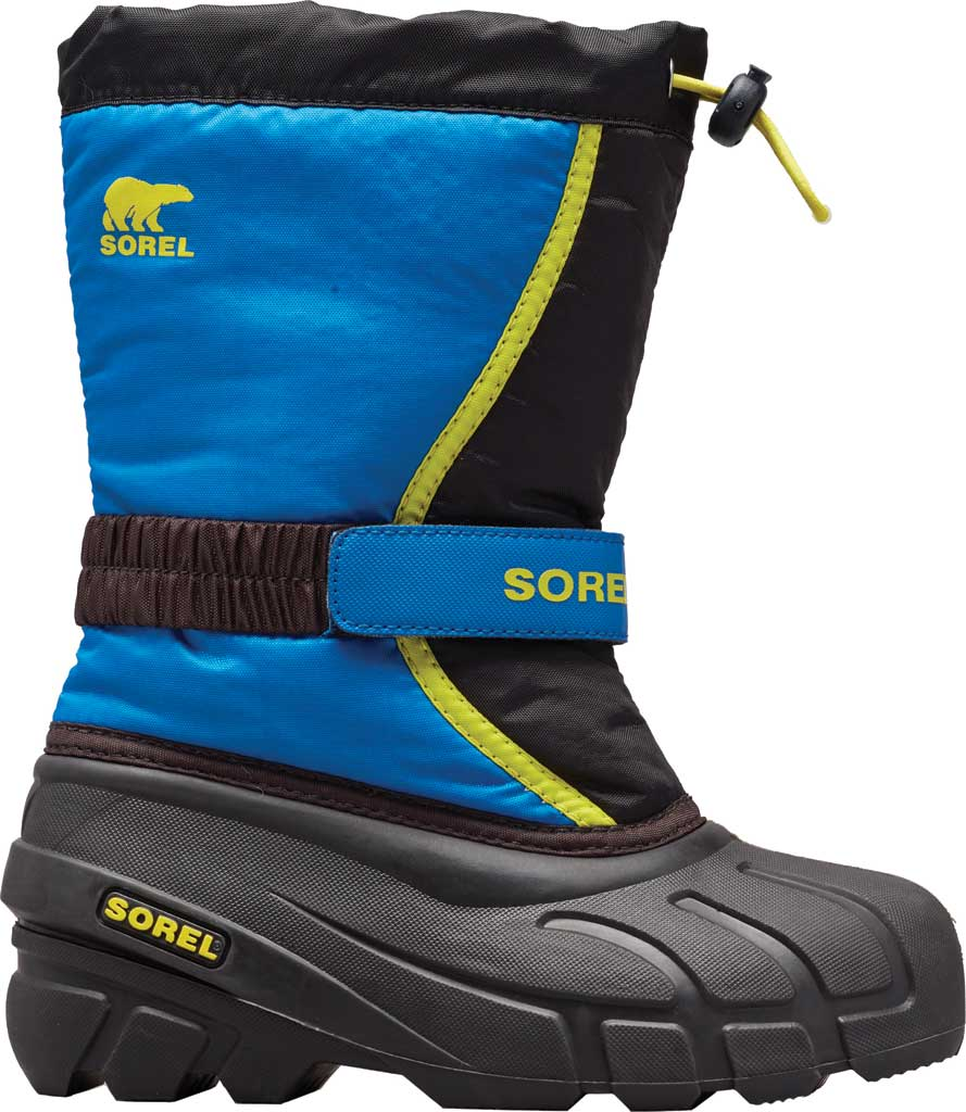 Children's Sorel Kids' Flurry Boot, Black/Super Blue Synthetic/Textile, large, image 1