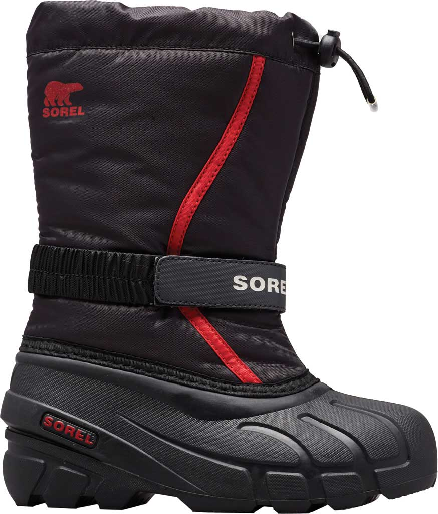 Children's Sorel Kids' Flurry Boot, Black/Bright Red Synthetic/Textile, large, image 1