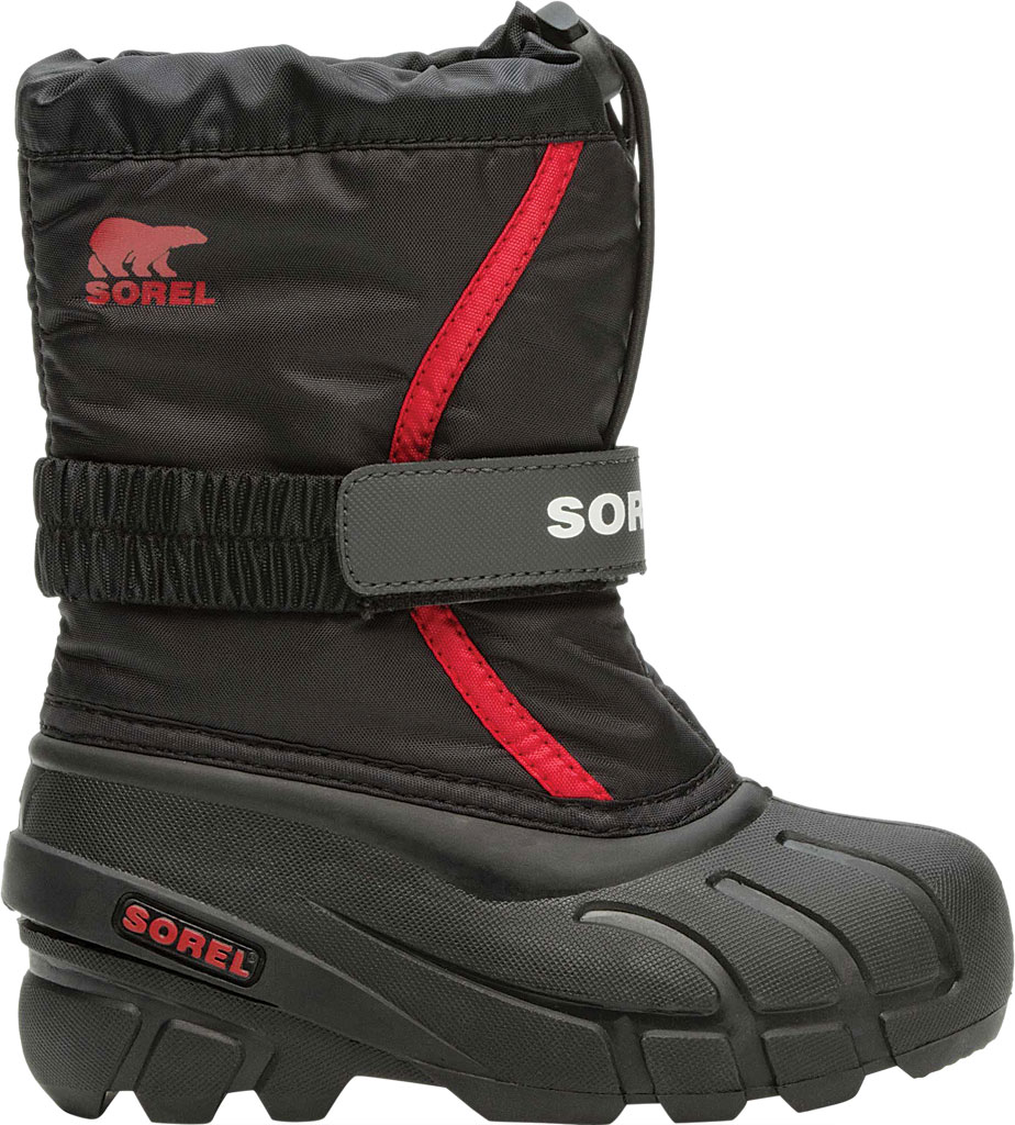 Children's Sorel Kids' Flurry Boot, Black/Bright Red Synthetic/Textile, large, image 2