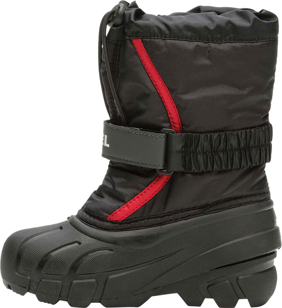 Children's Sorel Kids' Flurry Boot, Black/Bright Red Synthetic/Textile, large, image 3