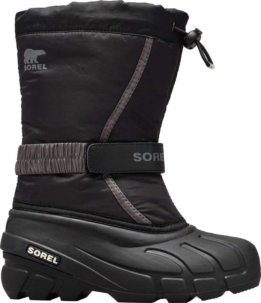 Children's Sorel Kids' Flurry Boot, Black/City Grey Synthetic/Textile, large, image 1