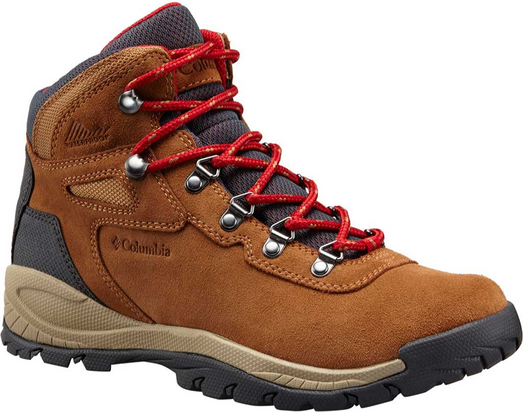 Women's Columbia Newton Ridge Plus Waterproof Hiking Boot, Elk/Mountain Red, large, image 1