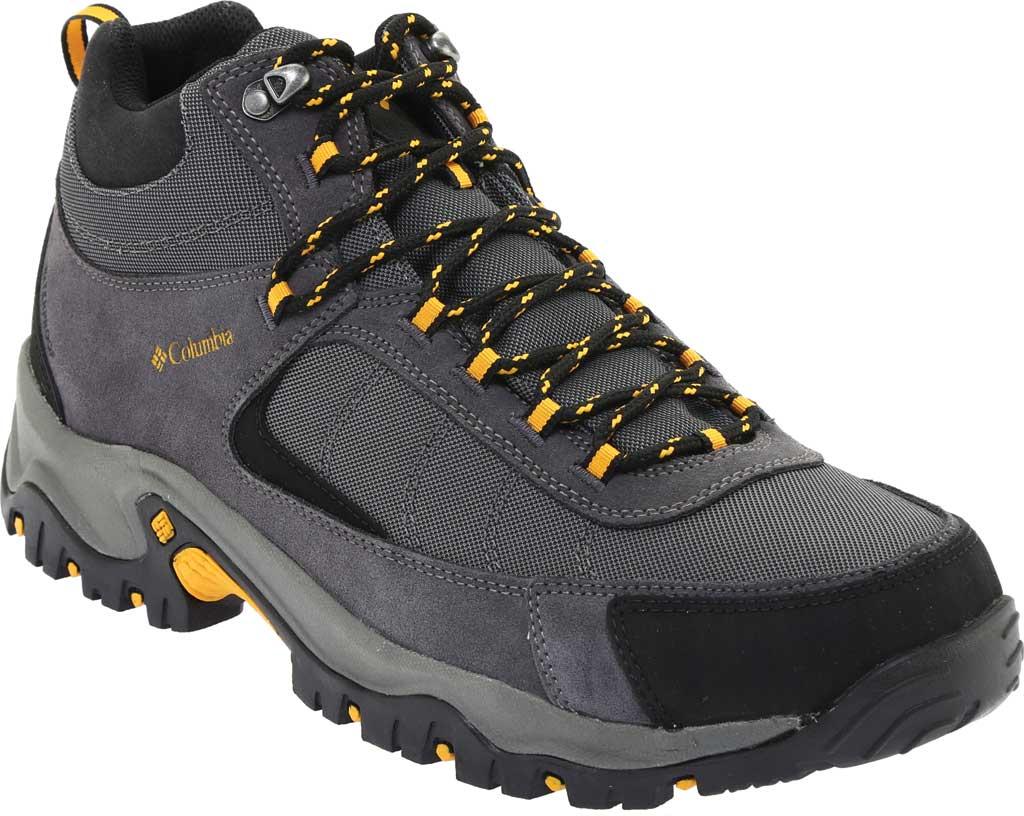 Men's Columbia Granite Ridge Mid Waterproof Hiking Boot, Dark Grey/Golden Yellow, large, image 1