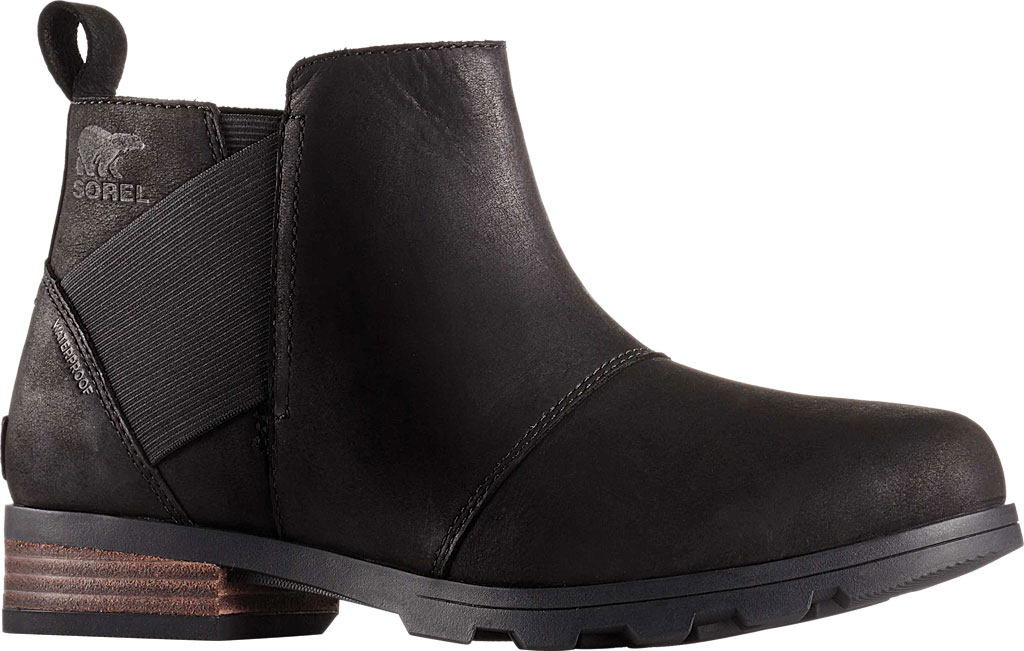 Women's Sorel Emelie Chelsea Bootie, Black/Black Full Grain Leather, large, image 1
