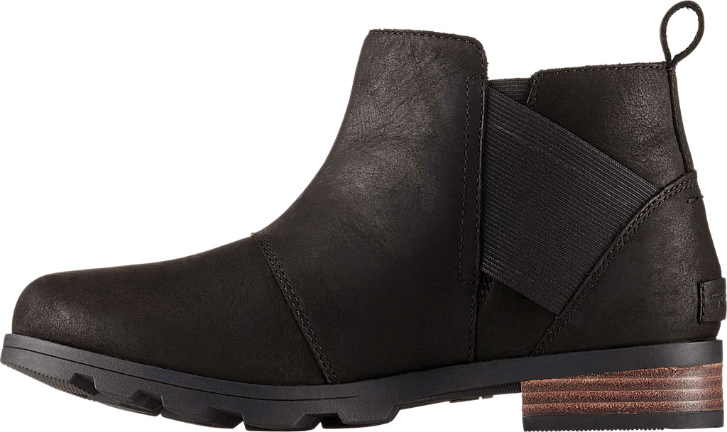 Women's Sorel Emelie Chelsea Bootie, Black/Black Full Grain Leather, large, image 2