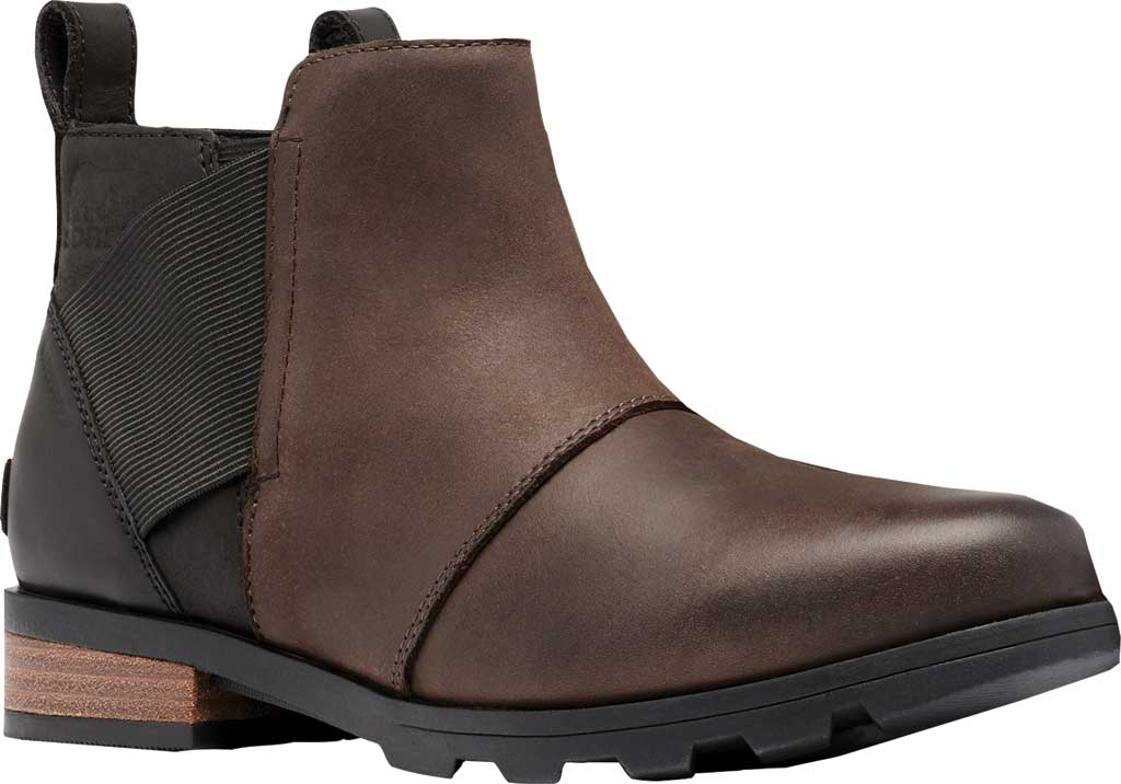 Women's Sorel Emelie Chelsea Bootie, Blackened Brown Waterproof Full Grain Leather/Felt, large, image 1