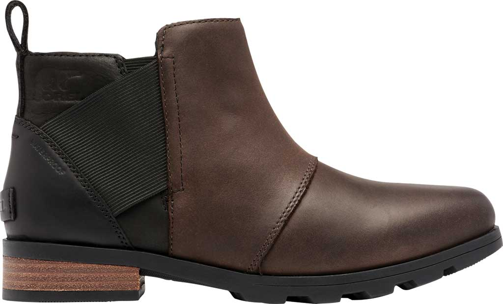 Women's Sorel Emelie Chelsea Bootie, Blackened Brown Waterproof Full Grain Leather/Felt, large, image 2