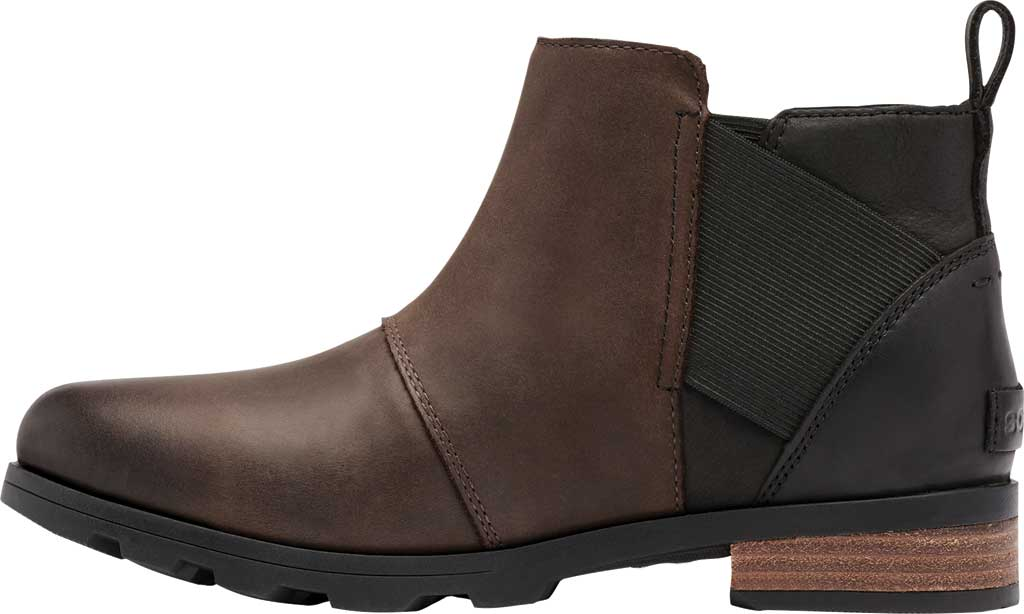 Women's Sorel Emelie Chelsea Bootie, Blackened Brown Waterproof Full Grain Leather/Felt, large, image 3