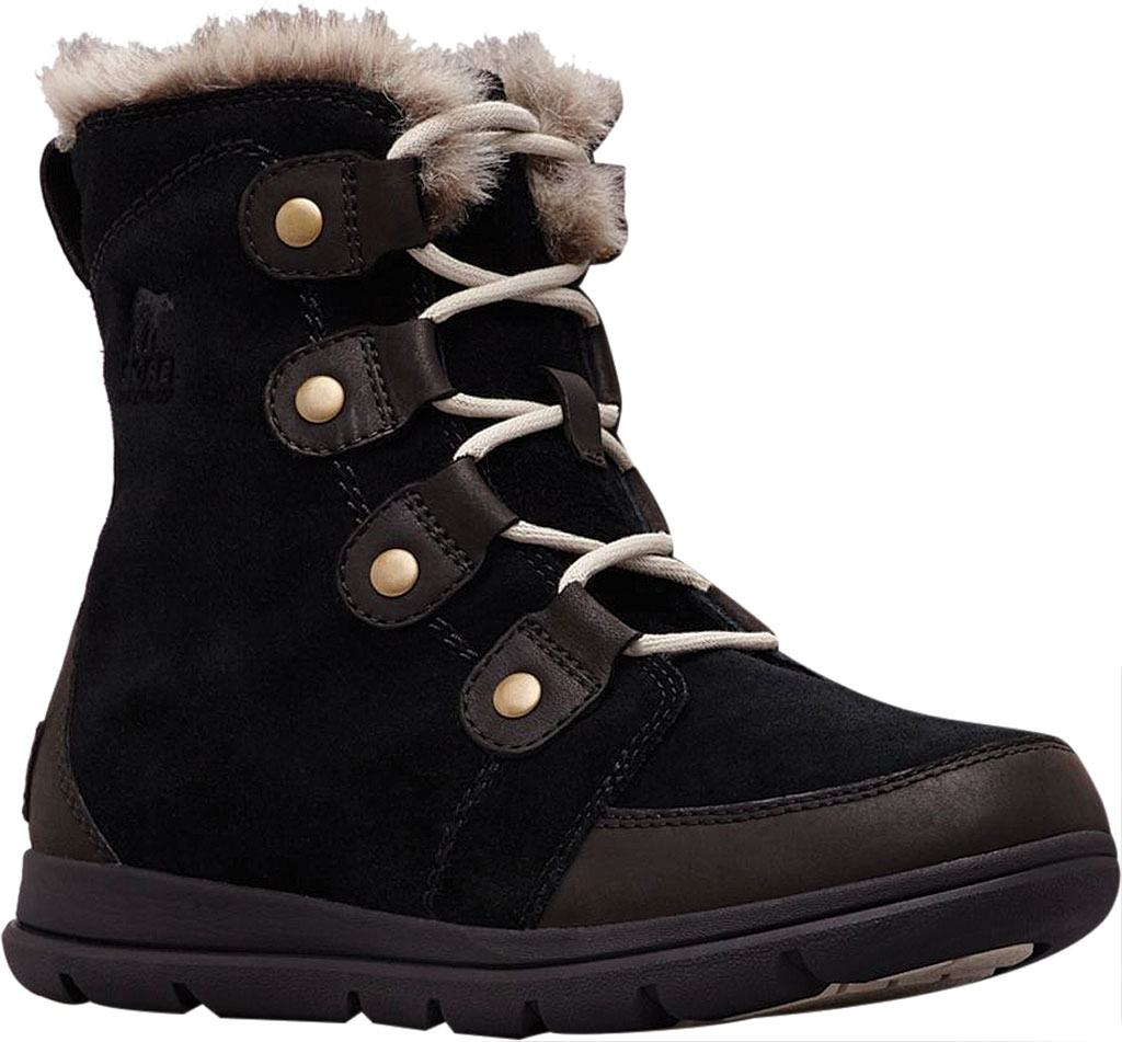 Women's Sorel Explorer Joan Boot, Black/Dark Stone Waterproof Suede, large, image 1