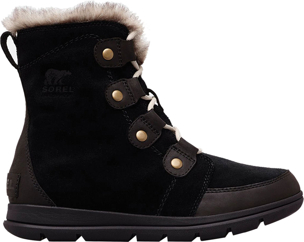 Women's Sorel Explorer Joan Boot, Black/Dark Stone Waterproof Suede, large, image 2