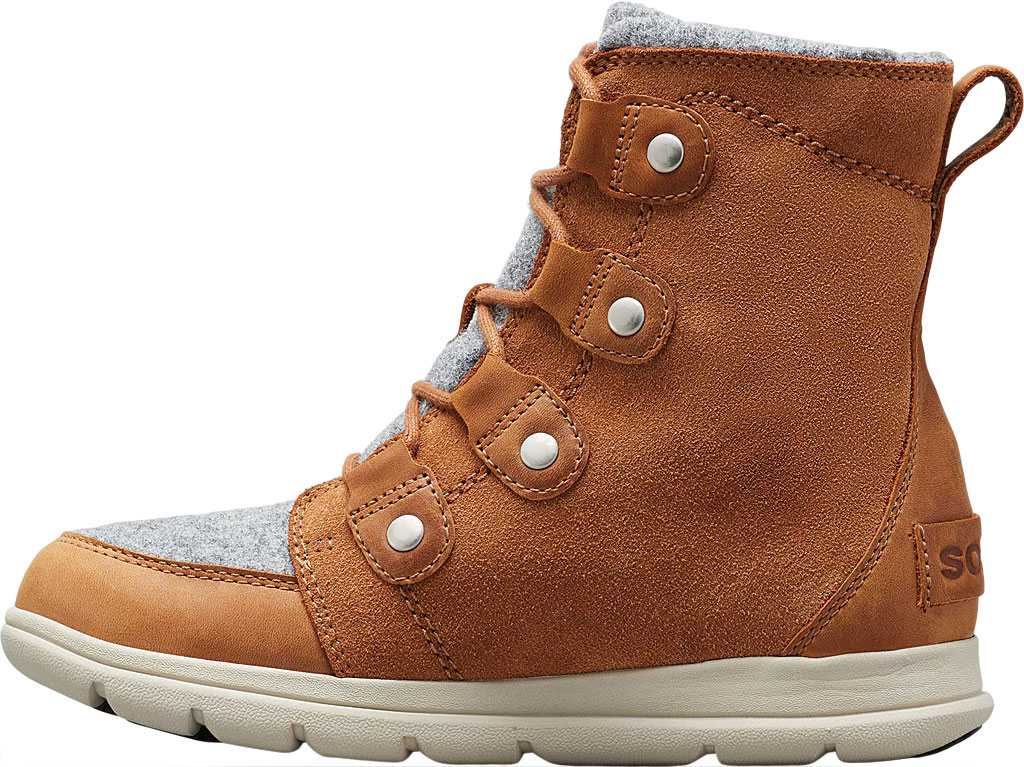 Women's Sorel Explorer Joan Boot, Camel Brown Full Grain Leather/Textile, large, image 3