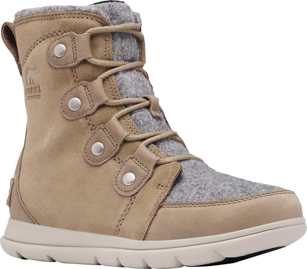 Women's Sorel Explorer Joan Boot, Felt-Khaki II Waterproof Full Grain Leather/Felt, large, image 1