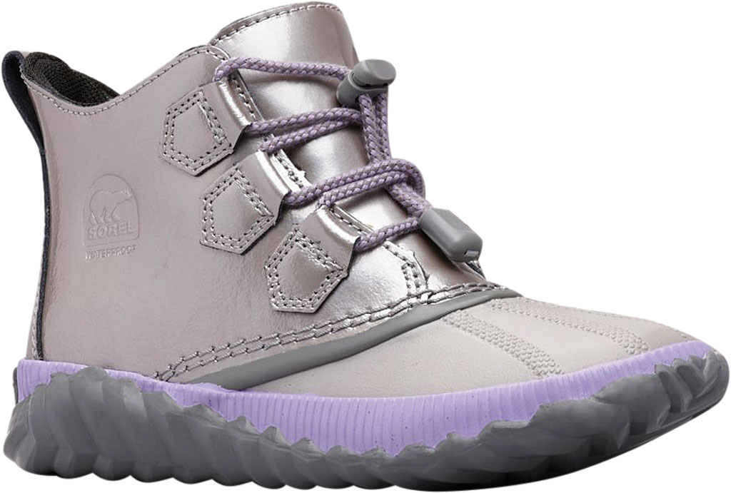Children's Sorel Youth Out N About Plus Boot, Quarry/Chrome Grey Waterproof Patent Leather, large, image 1