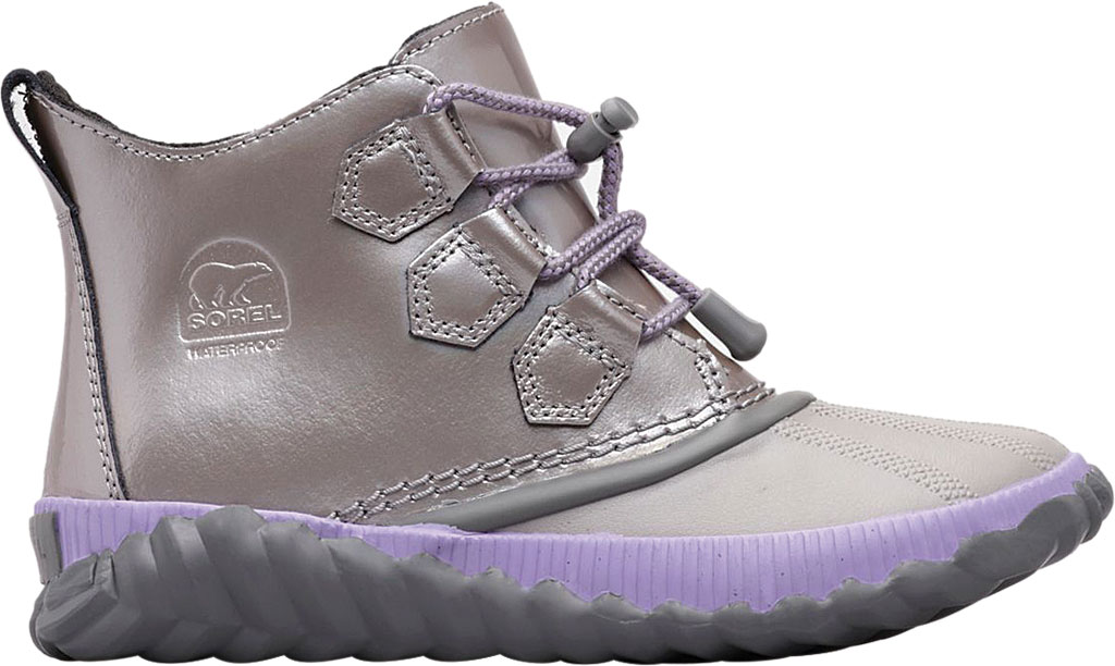Children's Sorel Youth Out N About Plus Boot, Quarry/Chrome Grey Waterproof Patent Leather, large, image 2