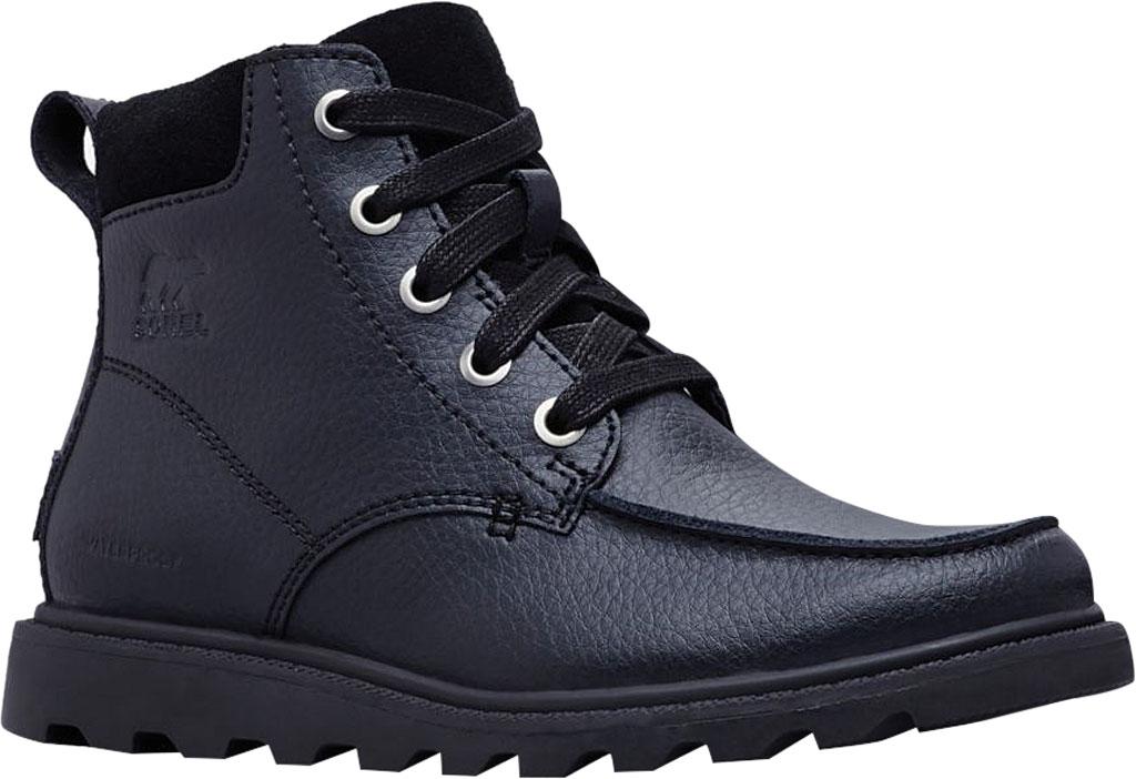 Boys' Sorel Youth Madson Moc Toe Waterproof Boot, Black/Black Polyurethane Coated Leather, large, image 1