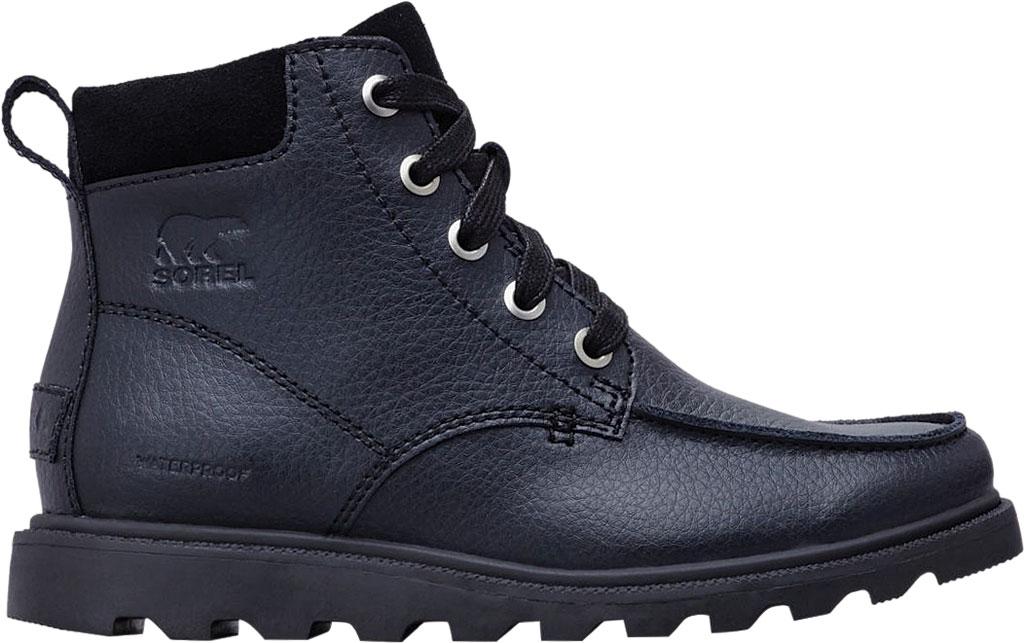 Boys' Sorel Youth Madson Moc Toe Waterproof Boot, Black/Black Polyurethane Coated Leather, large, image 2