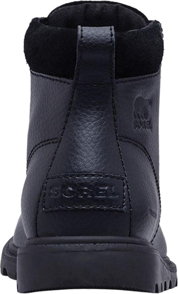 Boys' Sorel Youth Madson Moc Toe Waterproof Boot, Black/Black Polyurethane Coated Leather, large, image 3