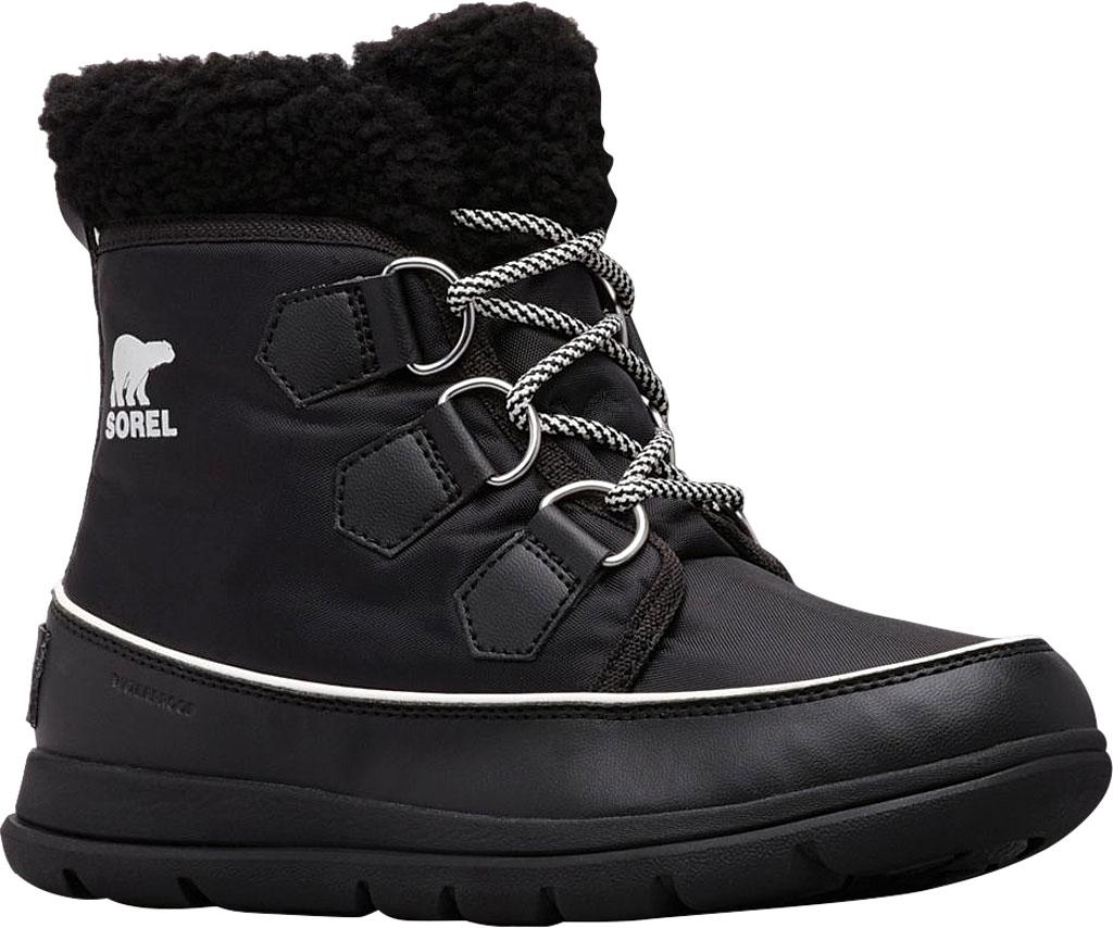 Women's Sorel Explorer Carnival Boot, Black/Sea Salt Waterproof Nylon, large, image 1