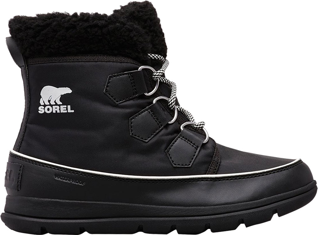Women's Sorel Explorer Carnival Boot, Black/Sea Salt Waterproof Nylon, large, image 2