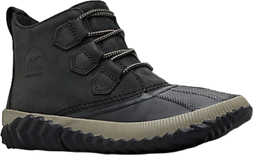 Women's Sorel Out N About Plus Bootie, Black Waterproof Full Grain Leather, large, image 1