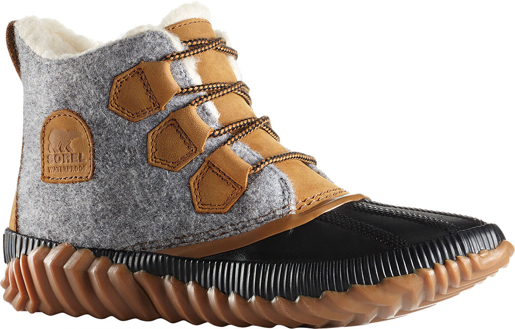 Women's Sorel Out N About Plus Bootie, Quarry Waterproof Leather/Felt/Faux Shearling, large, image 1