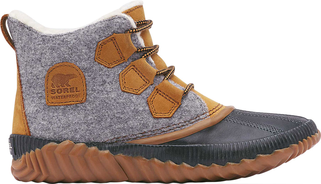 Women's Sorel Out N About Plus Bootie, Quarry Waterproof Leather/Felt/Faux Shearling, large, image 2