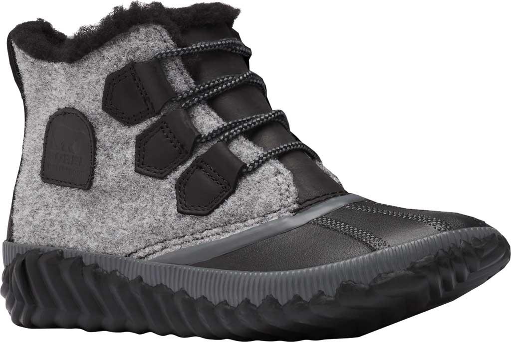 Women's Sorel Out N About Plus Bootie, Black Waterproof Leather/Felt, large, image 1