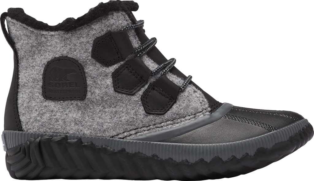 Women's Sorel Out N About Plus Bootie, Black Waterproof Leather/Felt, large, image 2