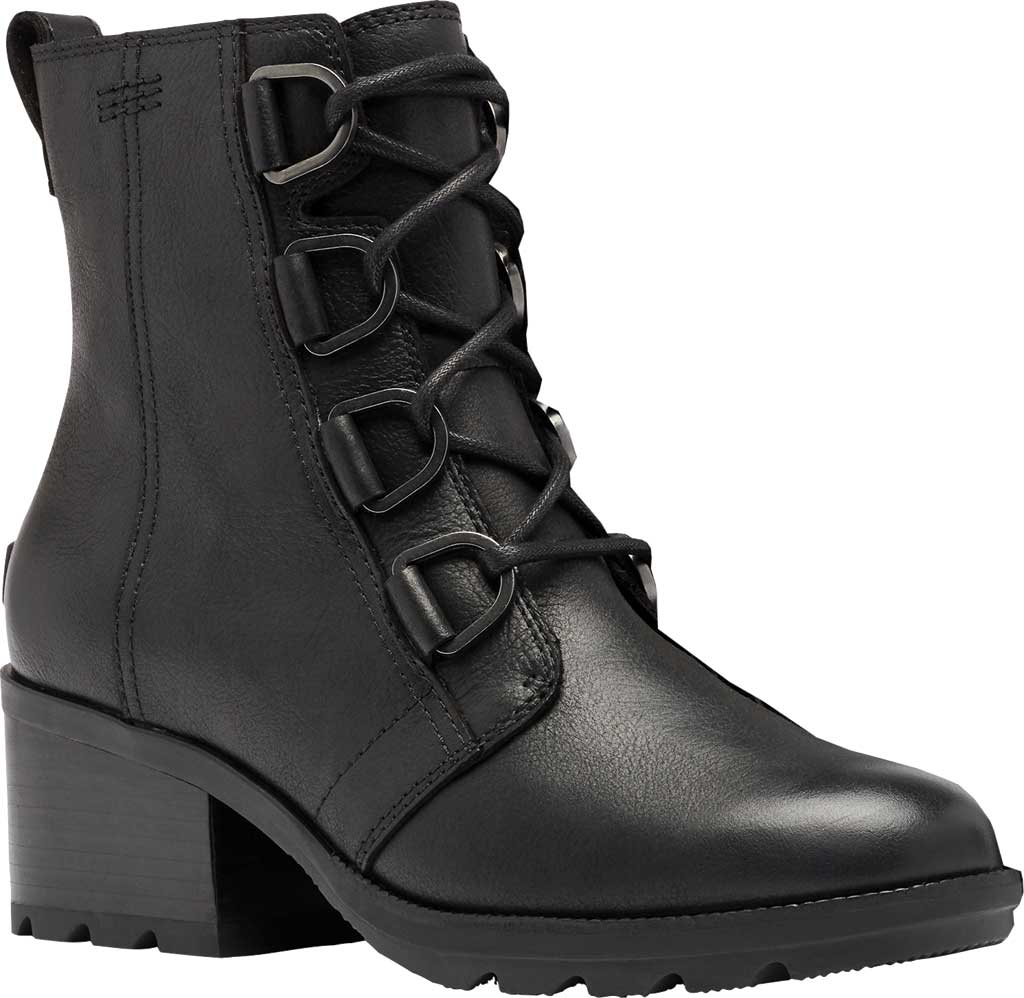 Women's Sorel Cate Lace Up Ankle Bootie, Black Waterproof Full Grain Leather, large, image 1