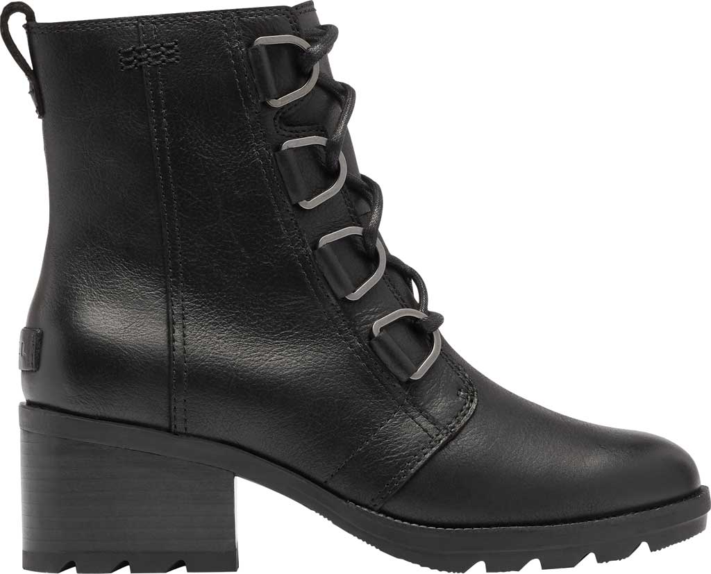 Women's Sorel Cate Lace Up Ankle Bootie, Black Waterproof Full Grain Leather, large, image 2
