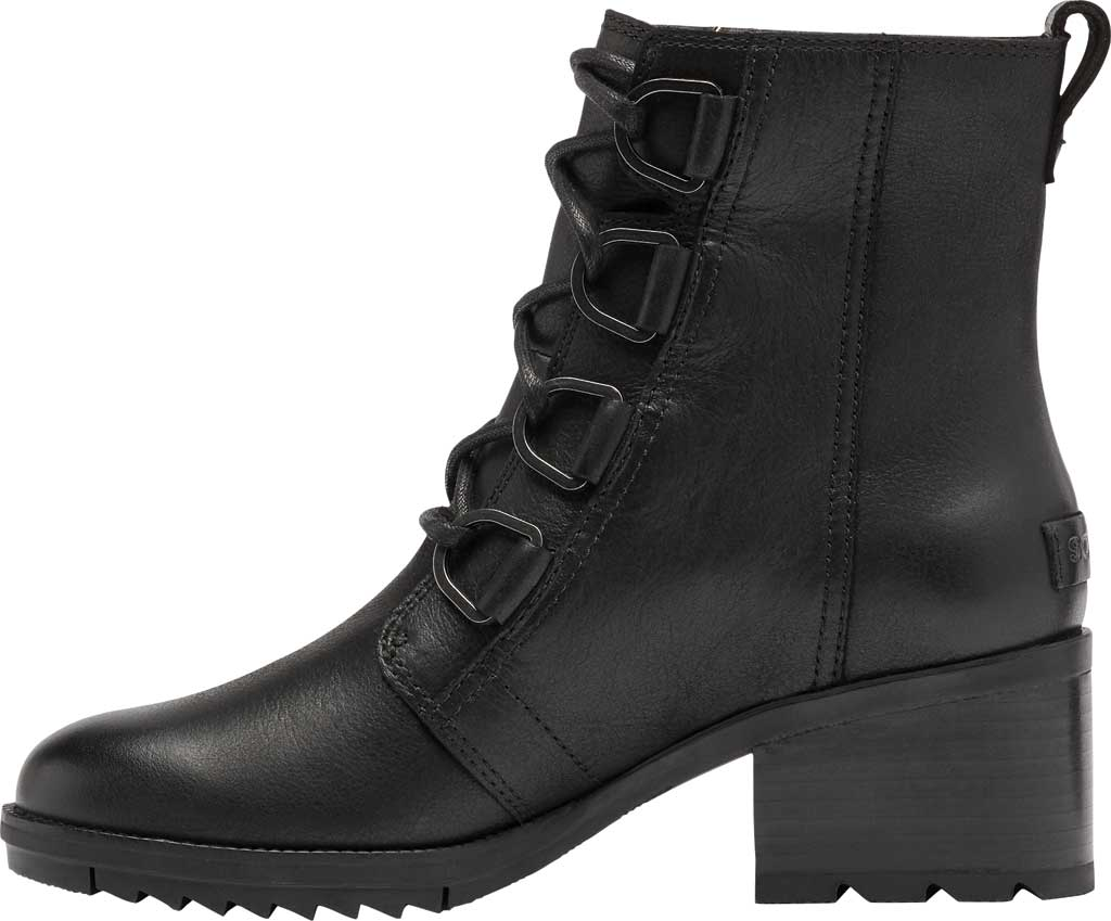 Women's Sorel Cate Lace Up Ankle Bootie, Black Waterproof Full Grain Leather, large, image 3