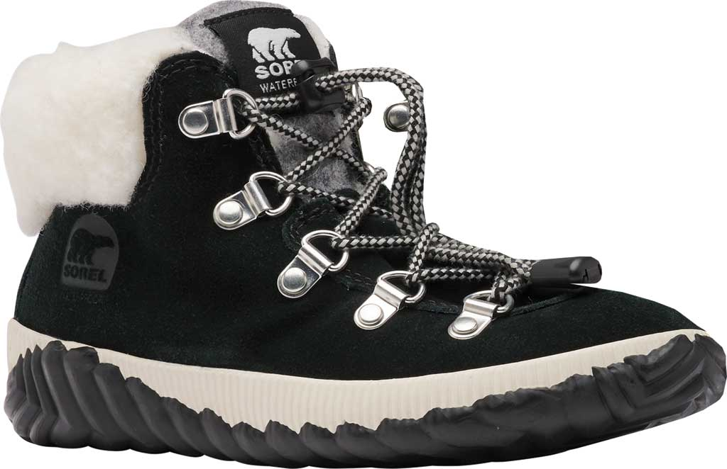 Girls' Sorel Out N About Conquest Waterproof Boot, Black Waterproof Suede/Faux Fur, large, image 1